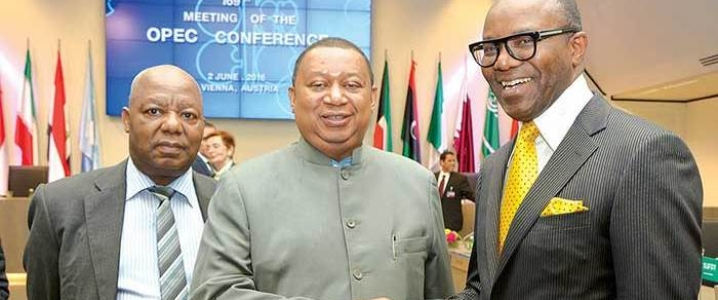 Ibe Kachikwu, Nigeria's Minister of State for Petroleum Resources, (right) and Mohammad Barkindo, OPEC Secretary-General
