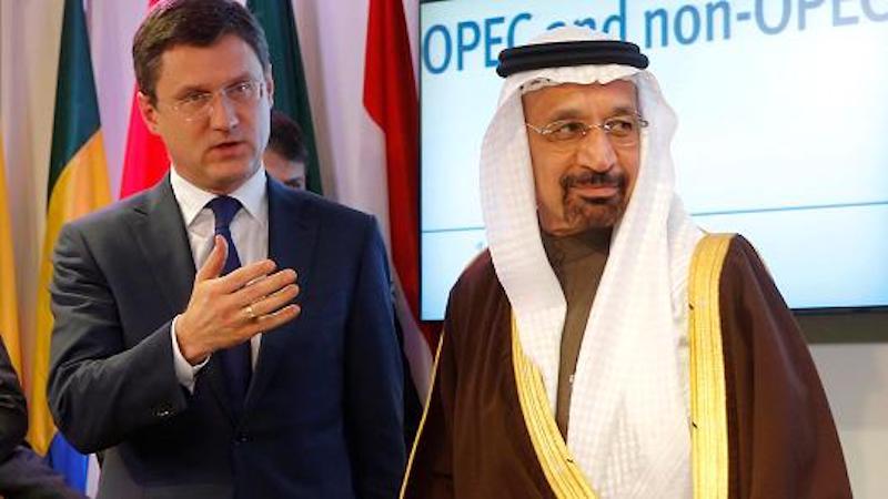 Russia's Energy Minister Alexander Novak and Saudi Arabia's Energy Minister Khalid al-Falih