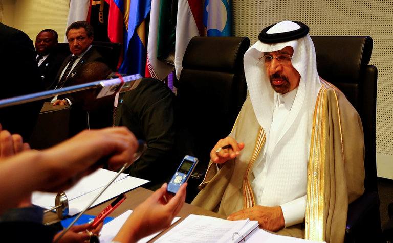 Khalid A. al-Falih, the Saudi energy minister, talked to journalists before an OPEC meeting in Vienna on Thursday 25 May, 2017.