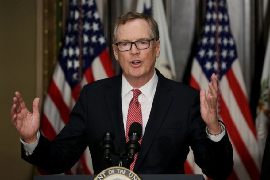 Robert Lighthizer speaks after he was sworn as U.S. Trade Representative during a ceremony at the White House in Washington, U.S. on May 15, 2017.