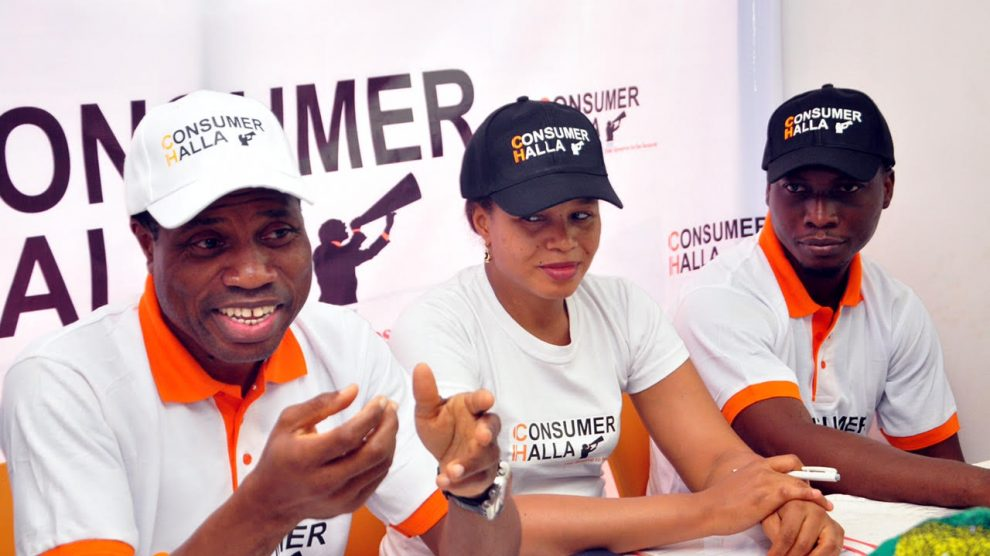 """Tunde Shofowora, CEO, Brand I Limited; Osas Igbinomwanhia, head, sales & marketing, and Sunkanmi Daramola, head content & business development at the launch of """"ConsumerHalla,the first consumer complaints resolution portal in Nigeria, by the company in Lagos"""