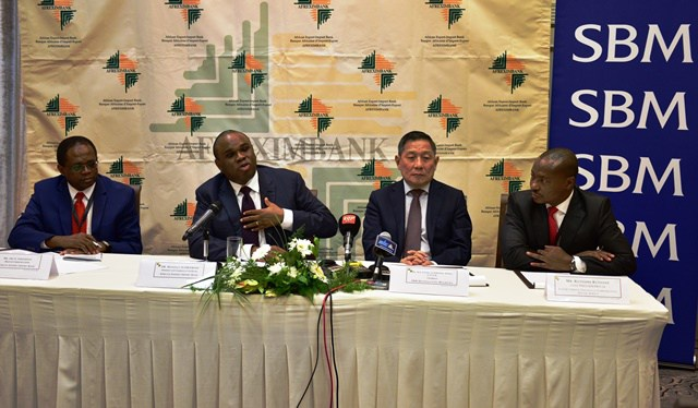 Benedict Oramah, Afreximbank President (2nd left) with Kutoane Kutoane, Chief Executive Officer, Export Credit Insurance Corporation of South Africa; Kee Chong Li Kwong Wing, Chairman of SBM and Obi Emekekwue, Afreximbank Head of Communications; during press conference after the opening of the Afreximbank Annual Structured Trade Finance Seminar and Workshop in Port Louis, Mauritius