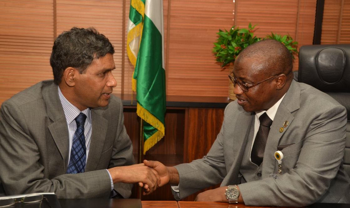 Amb. Nagabushana Reddy, the Indian High Commissioner to Nigeria, and Maikanti Baru, NNPC's group managing director
