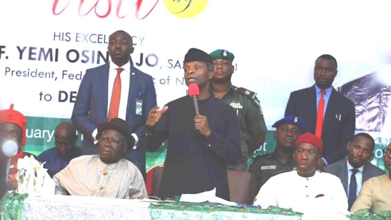 Yemi Osinbajo, Acting President flanked by Chief Edwin Clark and Delta State governor Ifeanyi Okowa during the presidency's visit to Niger Delta region