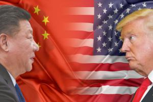 Match photo illustrating China-US face-off