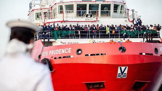 935 Migrant landing in Salerno July on 14,2017.