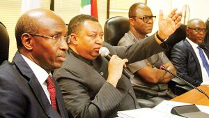 (L-R) Omar Farouk, Governor, Organisation of Petroleum Exporting Countries (OPEC); Mohammed Barkindo, Secretary General; Emmanuel Ibe Kachikwu, Nigeria's Minister of State for Petroleum, and Olusegun Adekunle, representative of the ministry's Permanent Secretary, during the OPEC scribe's visit to NNPC Towers, Abuja