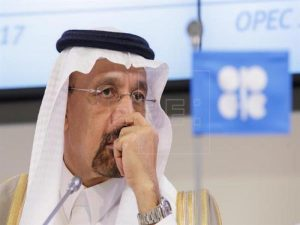 Archive image shows the President of the Opec Conference and Saudi Arabian Energy, Industry and Mineral Resources Minister Khalid Al-Falih listening during a news conference at the Opec HQ, Vienna, Austria, May 25, 2017