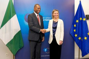 Geoffrey ONYEAMA, Nigerian Minister for Foreign Affairs; and EU's HR Federica MOGHERINI