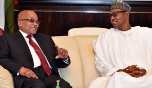 Jacob Zuma, South Africa President and Muhammadu Buhari, Nigeria's