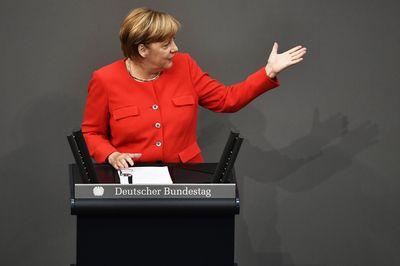 Merkel delivers a speech in Berlin on August 5