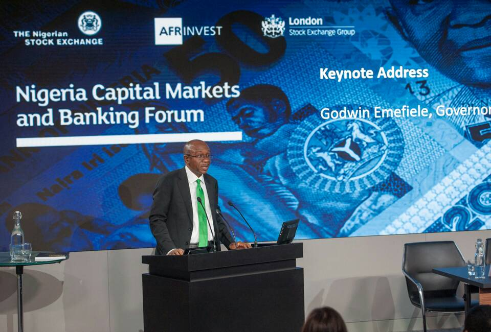 Emefiele ringing the opening bell last Friday, 27th October, at the London Stock Exchange