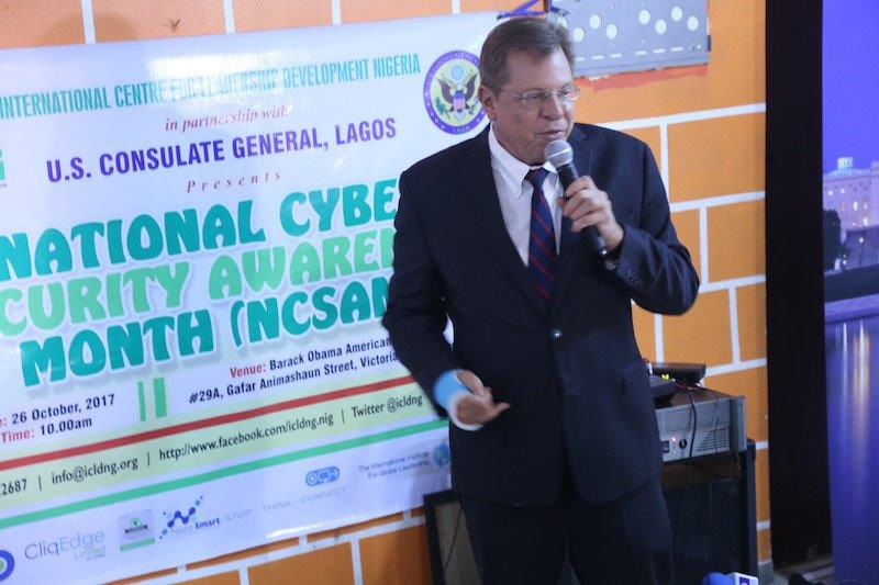 F. John Bray, U.S. Consul-General delivering remarks during the 2017 National Cybersecurity Awareness Month event held on Thursday, October 26 2017, at the Barack Obama American Corner, Victoria Island, Lagos.