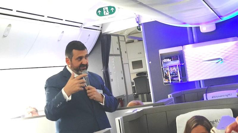 Alex Cruz, chairman of British Airways on board Boeing 787-9 Dreamliner