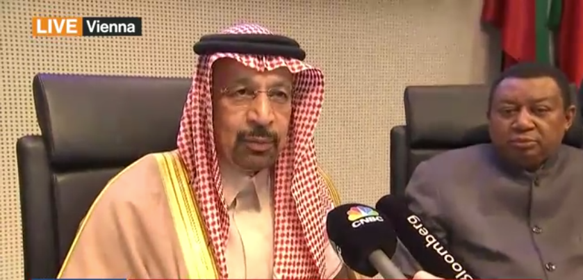 Khalid Al-Falih, Saudi Oil Minister speaks with journalists from Vienna about OPEC's likely extension of oil supply cuts until the end of 2018.