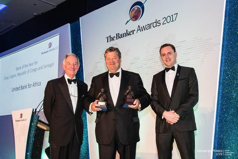 l-r: Former British Broadcasting Corporation(BBC) correspondent, Mr. Michael Buerk; Chief Executive, UBA Capital(Europe) Limited, representing UBA Group, Mr. Andrew Martin; and Editor, Middle East and Africa, The Banker. Mr. James King, during The Banker Awards 2017, organised by The Banker Magazine, a publication of Financial Times(FT), where UBA Group coveted five awards, including the prestigious 'African Bank of the Year 2017', at a ceremony in London on Wednesday