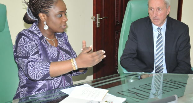 Kemi Adeosun, Minister of Finance, discussing with the Chief Executive Officer of Vlisco Group, David Suddens, during a visit by a delegation from the company to the Minister on Tuesday in Abuja.
