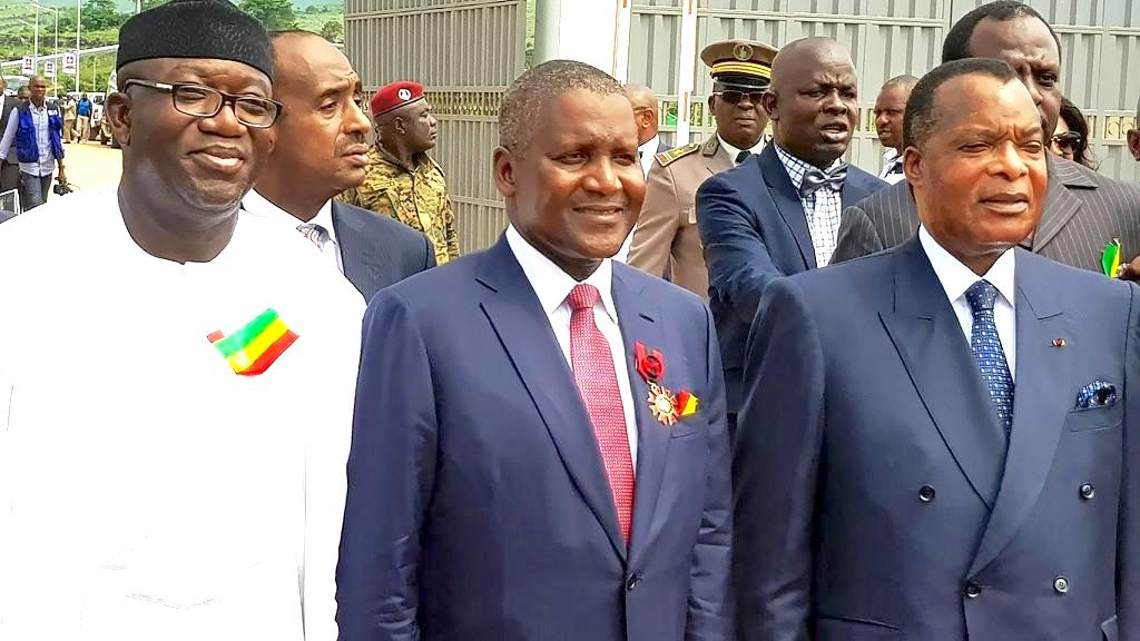 Kayode Fayemi, Nigeria's Minister of Mines and Steel Development; Aliko Dangote, Chairman of Dangote Cement Plc, and Denis Sassou Nguesso, Congo President,