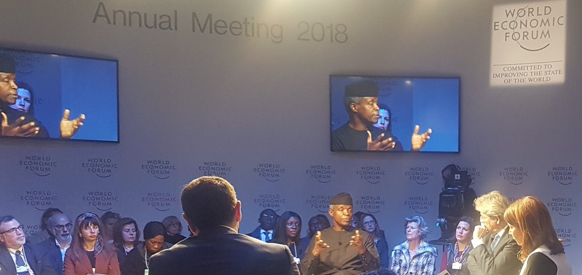 Osinbajo speaking on a panel on Migration issues at Davos