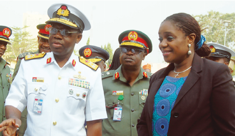 L-R:Adeniyi Oshinowo, Admiral and commandant, National Defence College; Peter Danke, deputy commandant and Kemi Adeosun, minister of finance and representative of Vice President of Nigeria, Yemi Osinbajo, at a lecture delivered on behalf of Osinbajo by Adeosun, to the Course 26 participants of National Defence College in Abuja