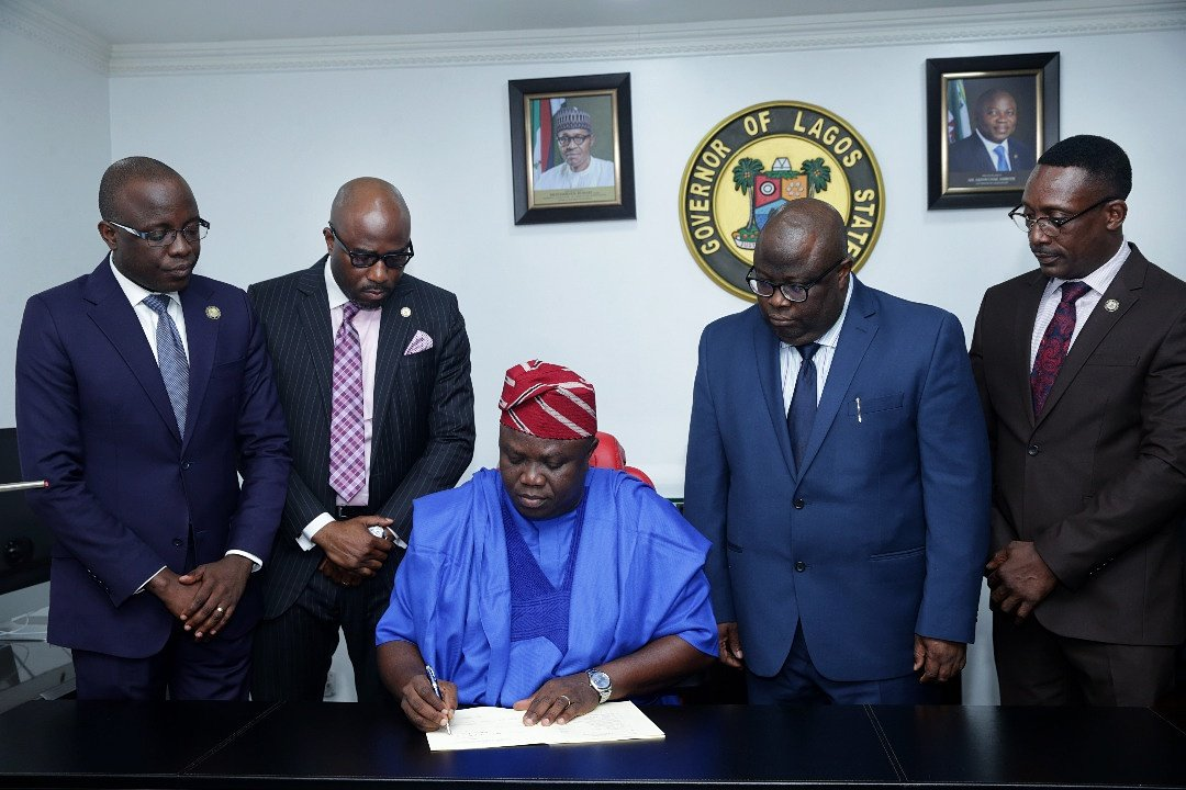 Akinwunmi Ambode, Lagos State governor, Monday signed the state's 2018 appropriation bill into law