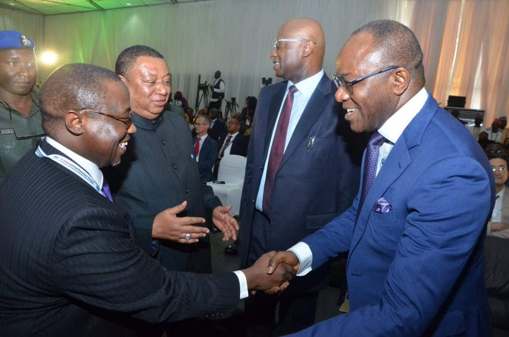 (L-R) MK Baru, GMD NNPC group; Mohammed Sanusi Barkindo, OPEC Secretary General; Boss Gida Mustapha, Secretary to the Government Federation and Ibe Kachikwu, Nigeria's minister of state petroleum resources, at the Nigerian Petroleum Summit in Abuja, Monday Feb 19, 2018