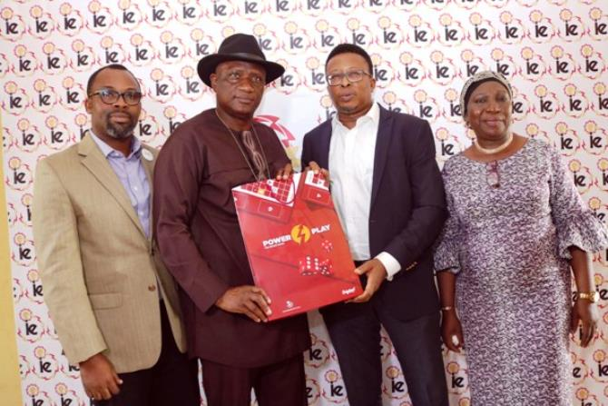 "L-R, Dapo Omolade, National Coordinator, Safety Advocacy and Empowerment Foundation, Hakeem Dickson, Director General, Lagos State Safety Commission, Felix Ofulue, Head, Corporate Communications Ikeja Electric and Folashade Lediju, Director of Admin & Human Resources, Lagos State, during the launching of IE proprietary ""Power-Play Board Game"" ©, at Stadium Junior Secondary School Ifako Ijaiye, Lagos"