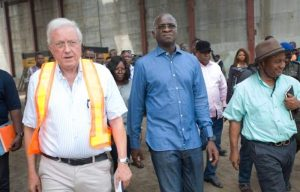 Babatunde Fashola, Nigeria's minister of power, works, and housing on an inspection tour