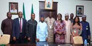 Yemi Osinbajo, Nigeria Vice-President receives Amadou Hott,African Development Bank Vice-President for Power, Energy, Climate Change and Green Growth, and other African Development Bank Senior Managers in his office to discuss Nigeria's Power Sector Recovery Programme (PSRP), State House Abuja