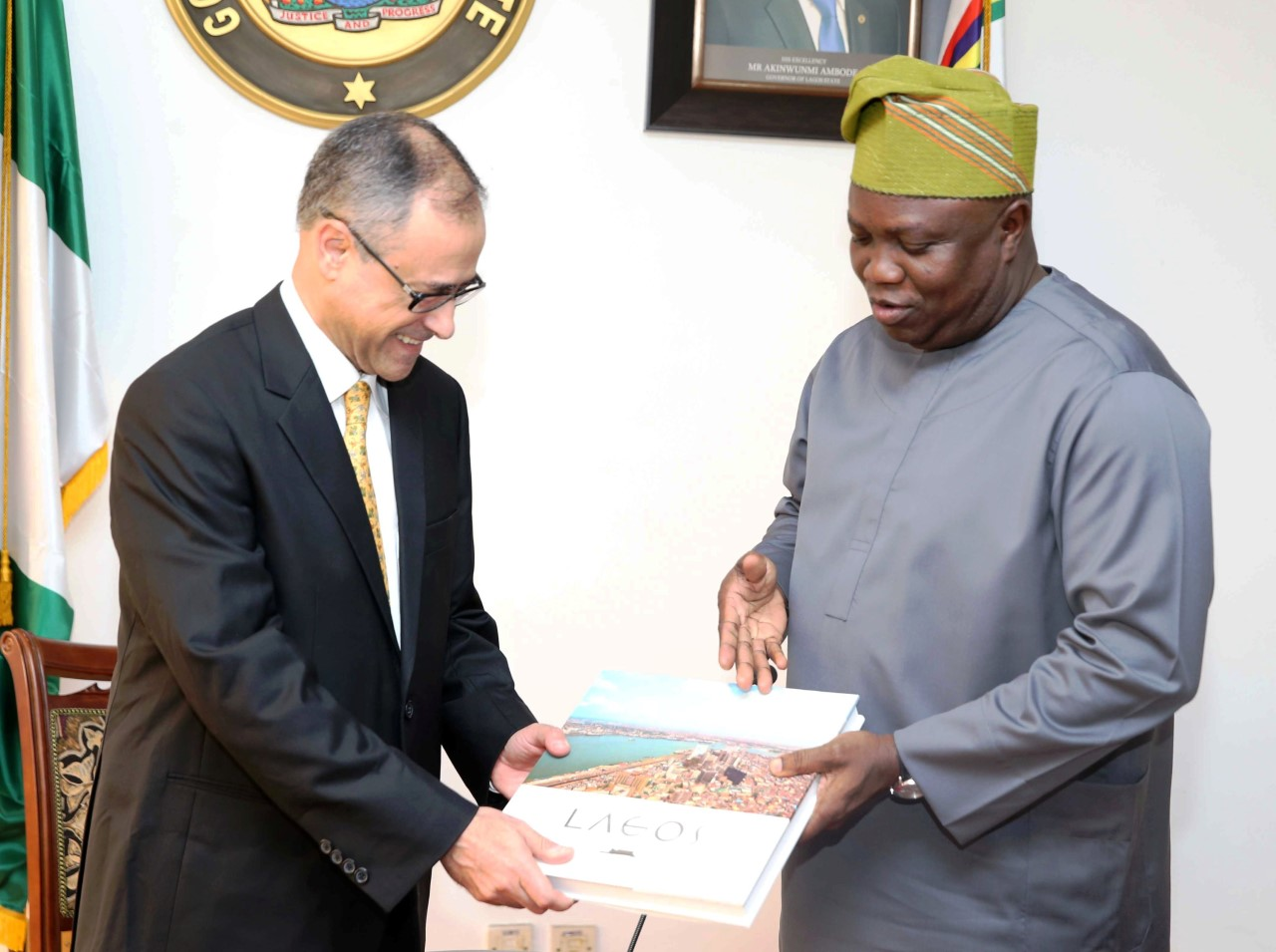 Akinwunmi Ambode, Lagos state governor and Patrizio Pagano, World Bank delegate