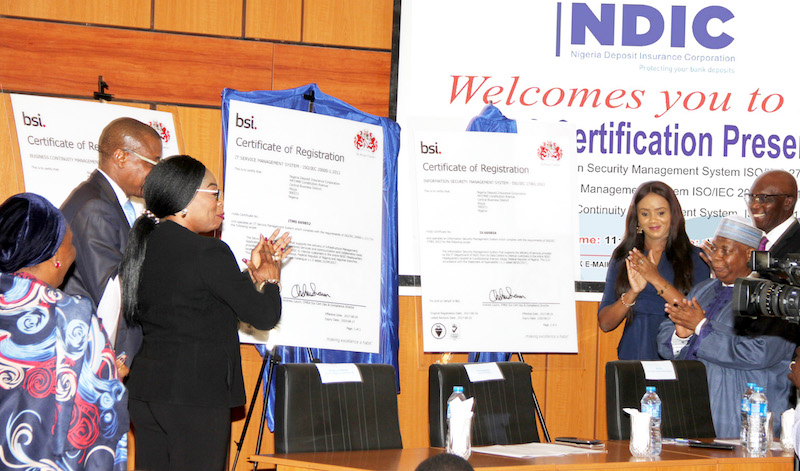 Formal presentation of three ISO Certifications of the British Standards Institution (BSI) to the Nigeria Deposit Insurance Corporation, NDIC