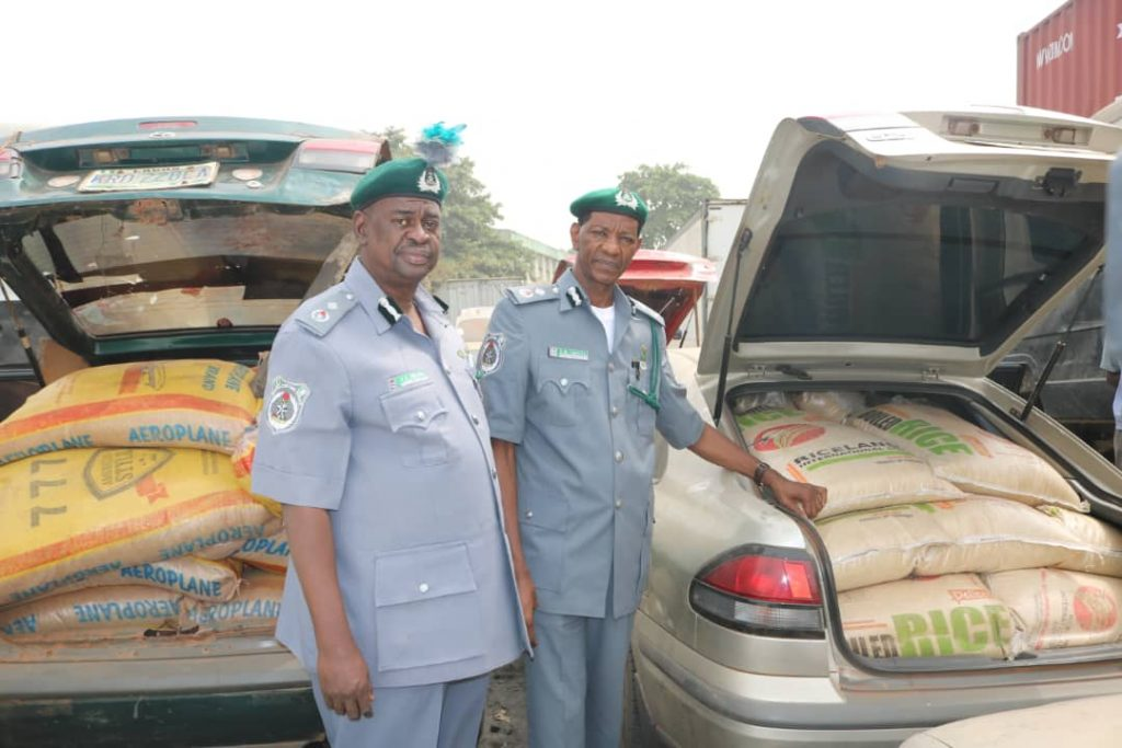 Customs intercepts 1,393 bags of rice, smuggled food items in gas cylinder in Ogun