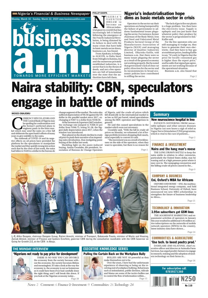 Business a.m. nespaper Monday – Sunday: 16th – 22nd March 2020