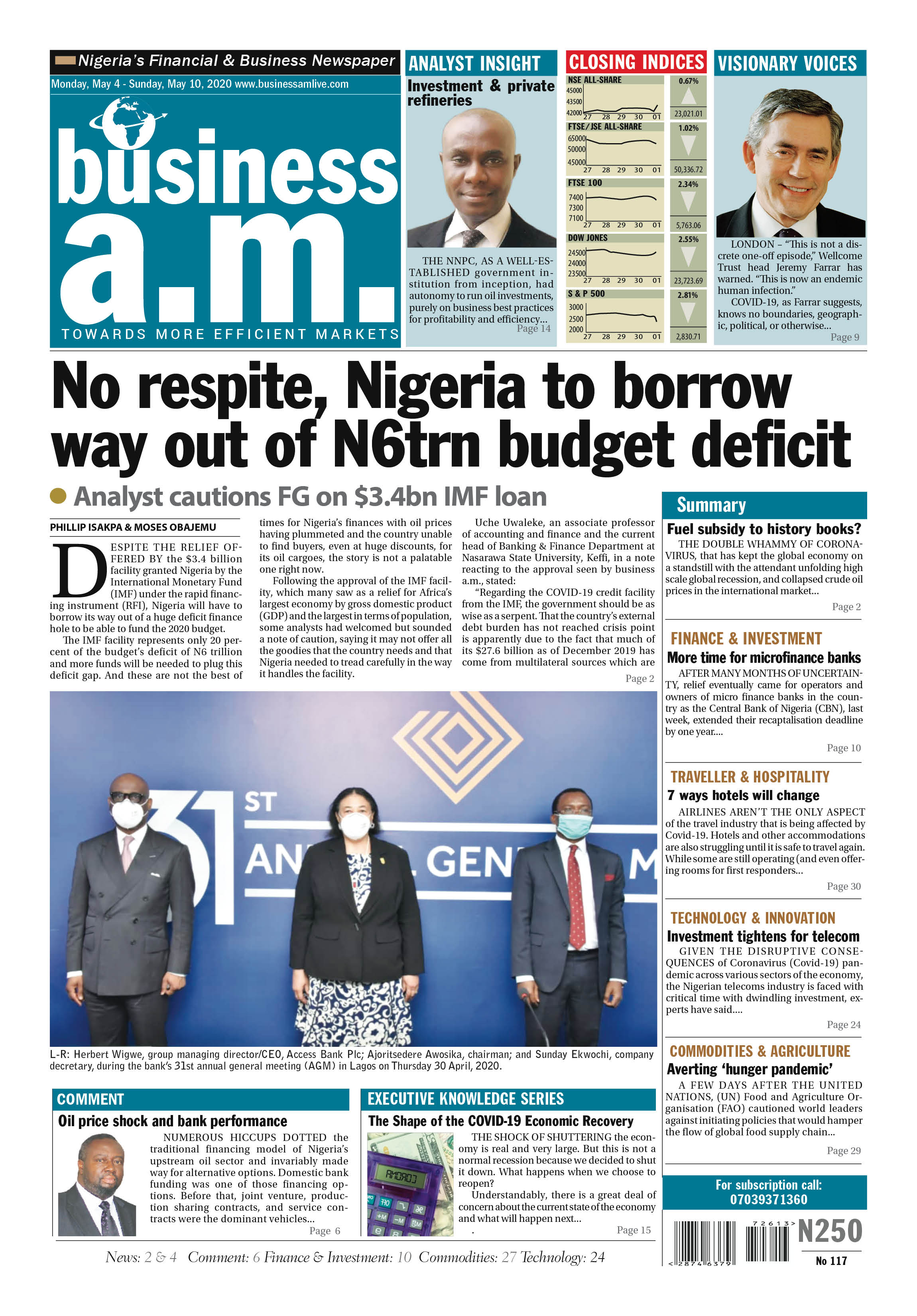 Business a.m. newspaper || Monday – Sunday: 4th - 10th May 2020