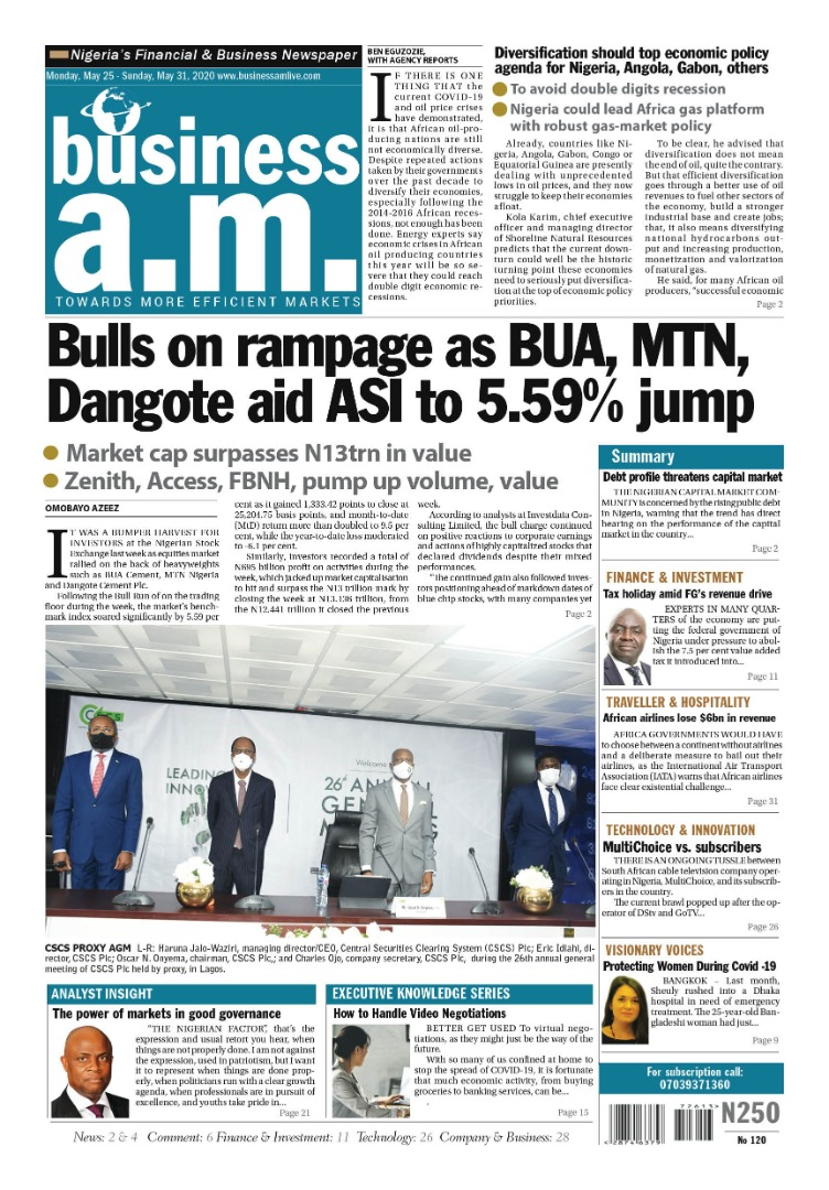 Business a.m. newspaper    Monday – Sunday: 25th - 31st May 2020