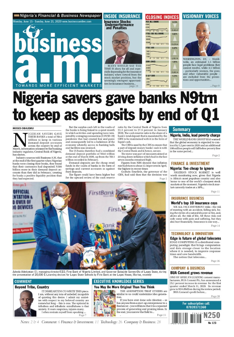 Business a.m. newspaper || Monday – Sunday: 15th – 21st June 2020