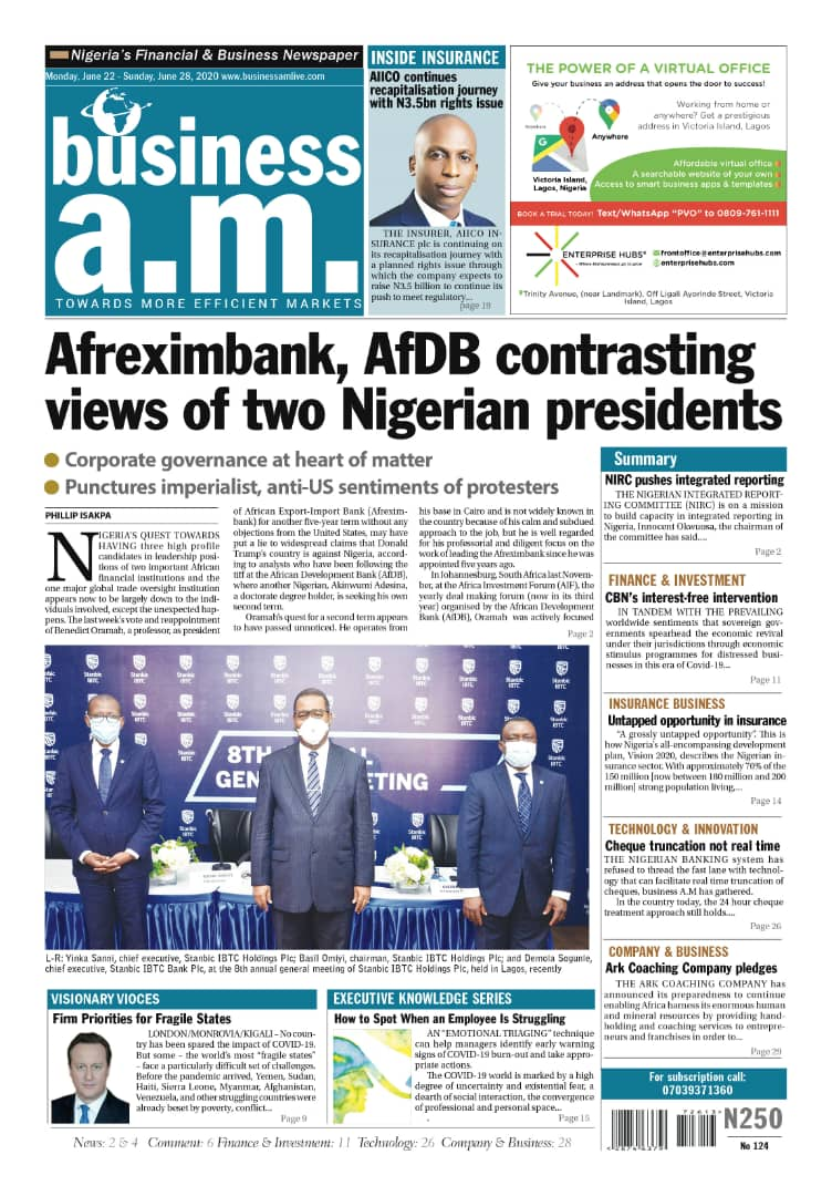 Business a.m. newspaper || Monday – Sunday: 22nd - 28th June 2020