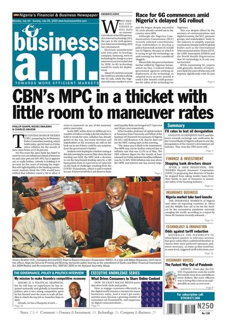 Business a.m. newspaper: Monday, July 20 – Sunday, July 26, 2020